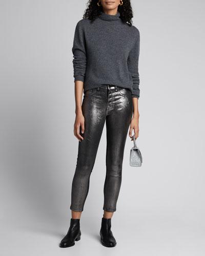 Debbie Coated Metallic High-Rise Skinny Jeans