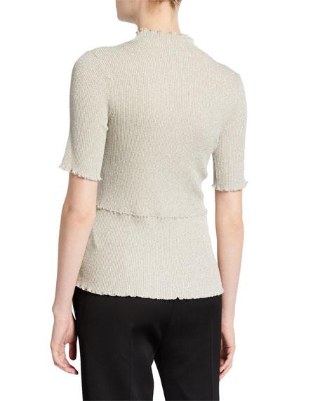 Short-Sleeve Metallic Top