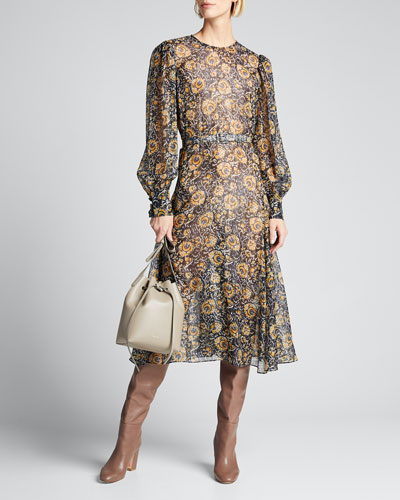 Oneida Printed Long-Sleeve Midi Dress w/ Belt