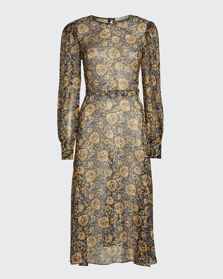 Oneida Printed Long-Sleeve Midi Dress w/ Belt