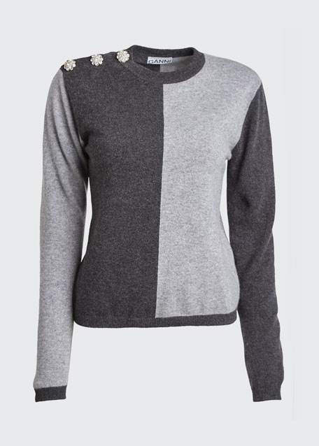 Two-Tone Cashmere Pullover Sweater