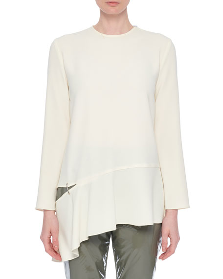 Triacetate Long-Sleeve Top with Detached Hem