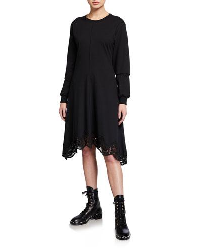 Long-Sleeve Asymmetrical Lace-Trim Tee Dress