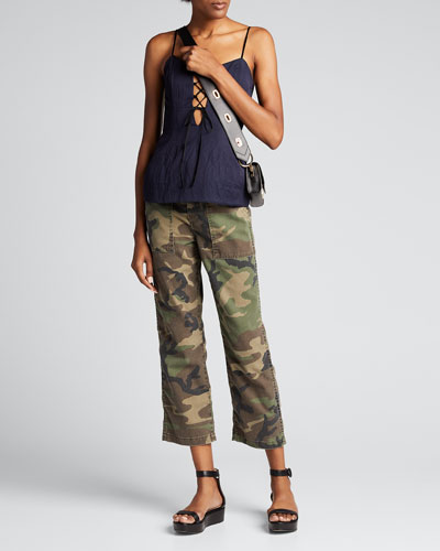 Gwen Camo-Pattern Ankle Pants