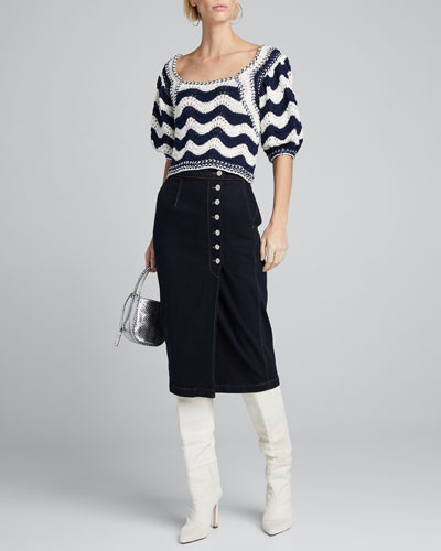 Olympia Side-Button Denim Skirt