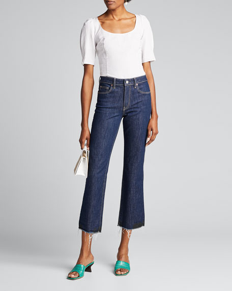 Image 1 of 1: Colette Dark-Wash Flare Cropped Jeans