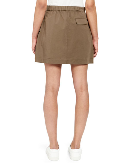 Stitched Pocket A-Line Mini Skirt