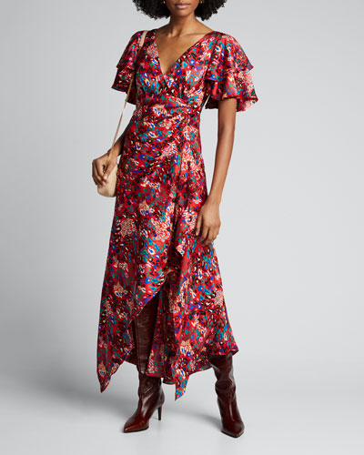 Clementine Printed Flutter-Sleeve Dress