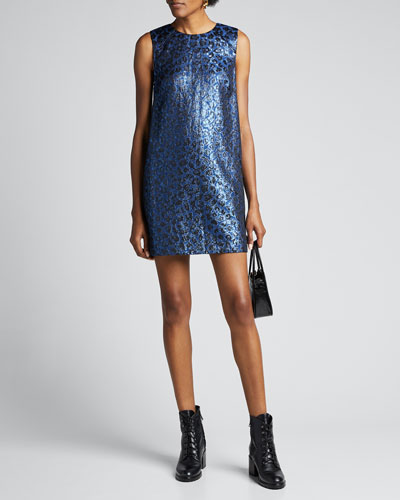Tracy Metallic Leopard Shift Dress
