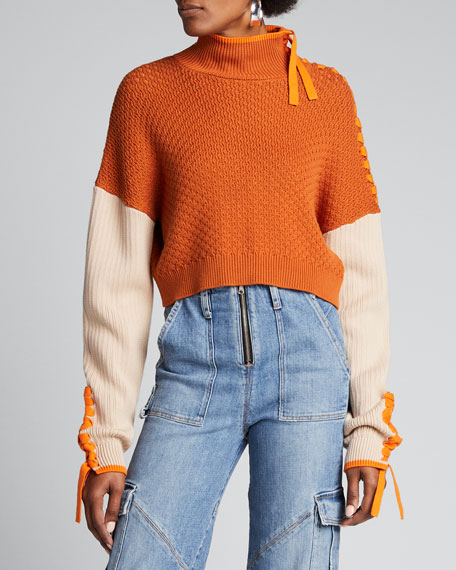 Braided Cropped Turtleneck Sweater
