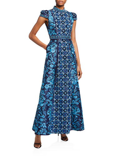Nidia Embroidered Mock-Neck Cap-Sleeve Gown