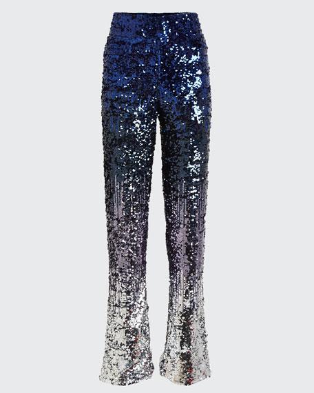 Elba Degrade-Sequined Straight-Leg Pants