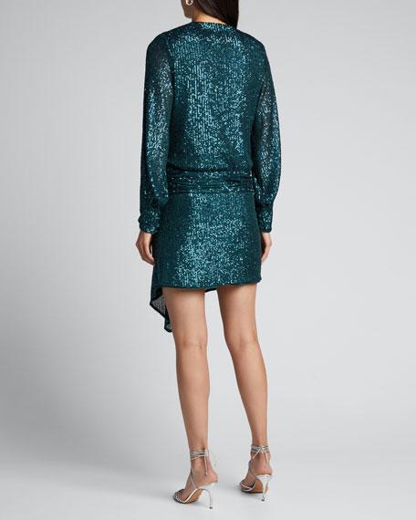 Sequin Embroidered Deep V-Neck Drape Front Dress