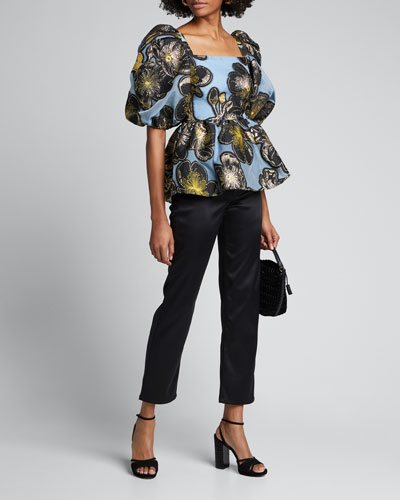 Irene Square-Neck Floral Embroidered Top