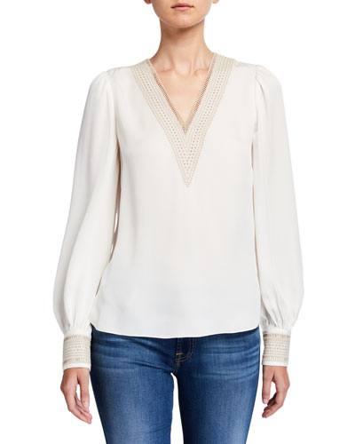 Aura V-Neck Long-Sleeve Silk Shirt