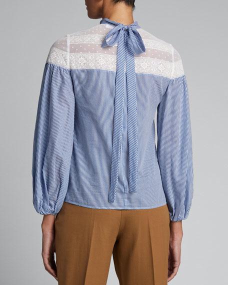 Striped Mock-Neck Tie-Back Lace-Yoke Blouse