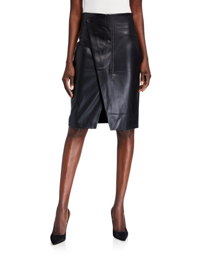 Jade Faux-Leather Wrap Front Skirt