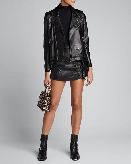 Side-Ruffle Mini Pelle Napa Leather Skirt