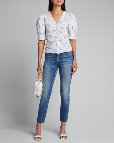 The Pixie Dazzler Ankle Fray Straight-Leg Jeans