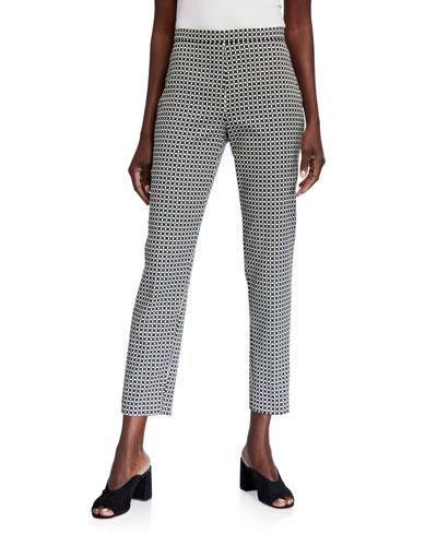 Marcia Geometric Straight-Leg Ankle Pants