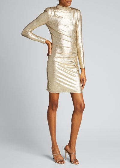 Hilary Ruched Mock-Neck Dress