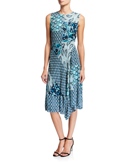 Azure Mixed-Print Sleeveless Silk Dress