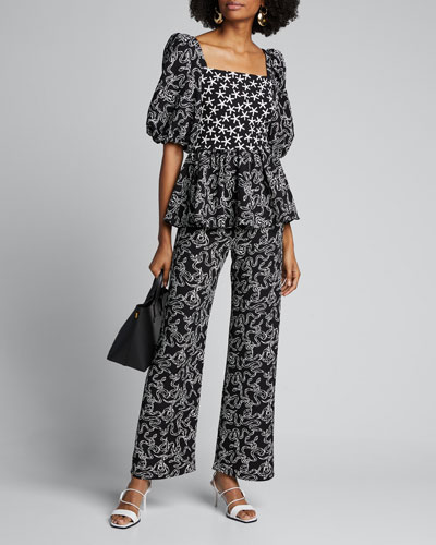 Marc Snake-Print Wide-Leg Pants