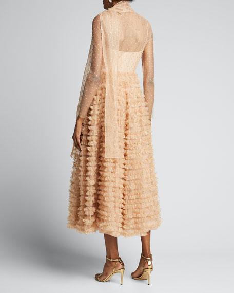 Glitter Tulle Ruffle-Skirt A-Line Dress w/ Scarf Detail