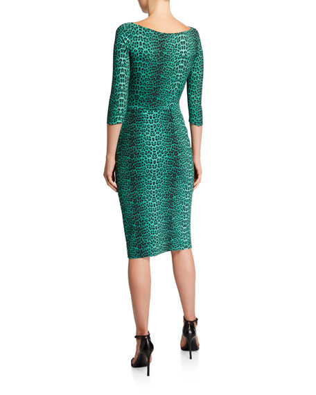 3/4-Sleeve Animal-Print Ruched Cocktail Dress