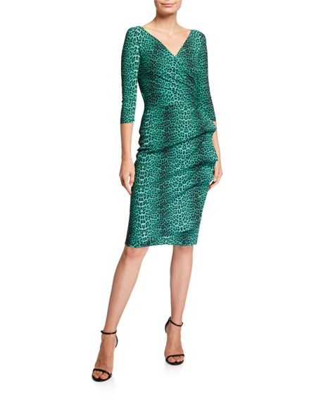 Image 1 of 1: 3/4-Sleeve Animal-Print Ruched Cocktail Dress