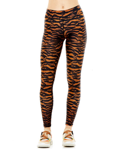 Tiger-Print Yoga Leggings