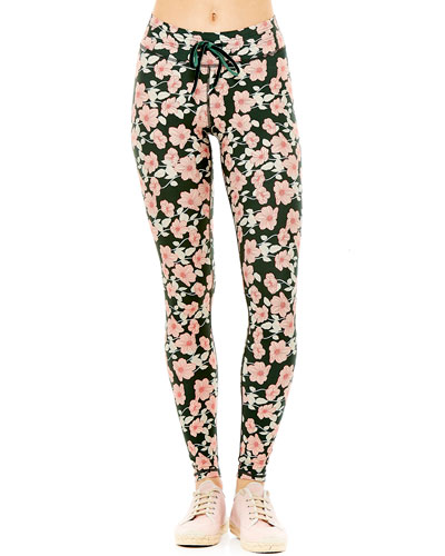 Poppy Floral-Print Yoga Leggings