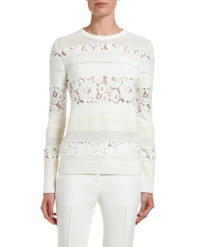 Tonal Striped Crewneck Rib-Knit Floral Lace-Inset Sweater