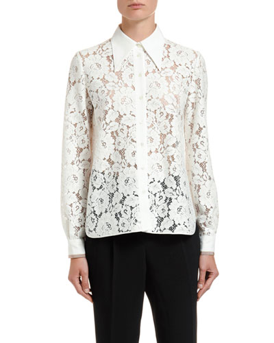Lace Pointed-Collar Shirt