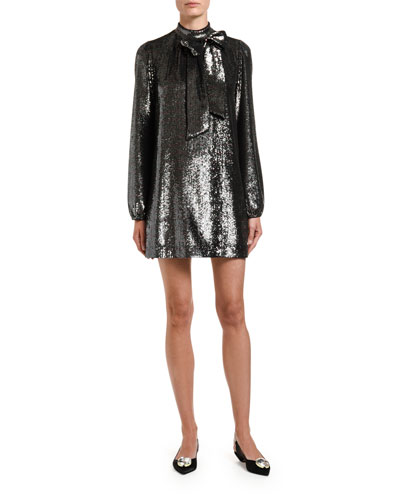 Sequined Long-Sleeve High-Neck Dress w/ Bow