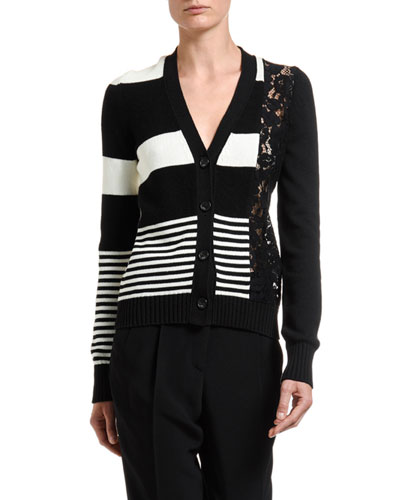 Striped Button-Front Cardigan w/ Lace Inset