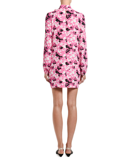 Printed Long-Sleeve Bow-Neck Mini Dress