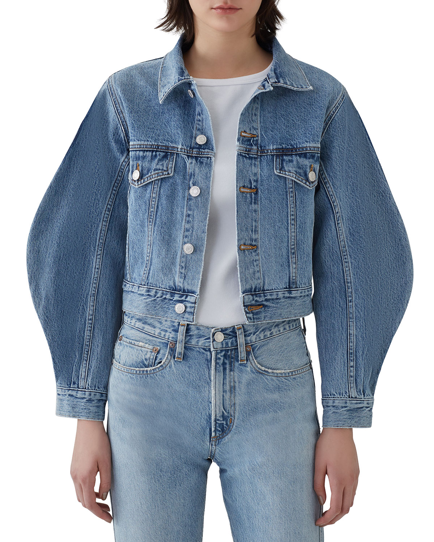 Agolde Jackets Alik Cropped Denim Jacket with Exaggerated Sleeves