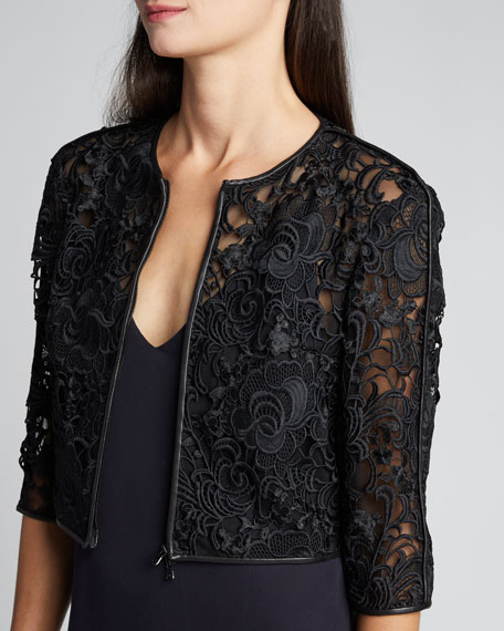 Lace Cropped Zip-Front Jacket