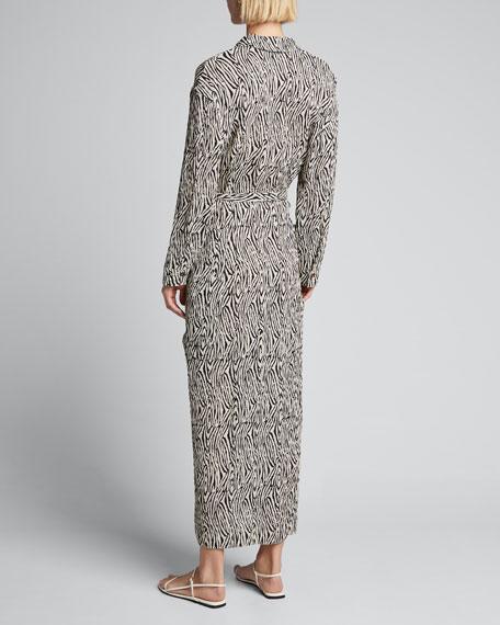 Capri Zebra-Striped Belted Shirt Dress
