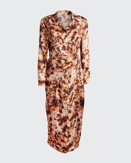 Bisso Tie-Dye Long-Sleeve Shirt Dress