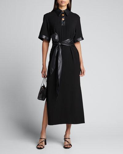 Leila Belted Short-Sleeve Dress w/ Vegan Leather Trim