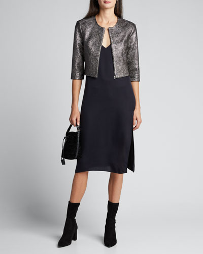 Metallic Leather Cropped 3/4-Sleeve Jacket