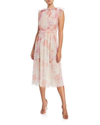 Printed Tulle Waisted Sleeveless Dress