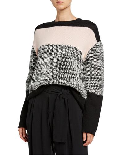 Colorblock Merino Wool Crewneck Long-Sleeve Sweater