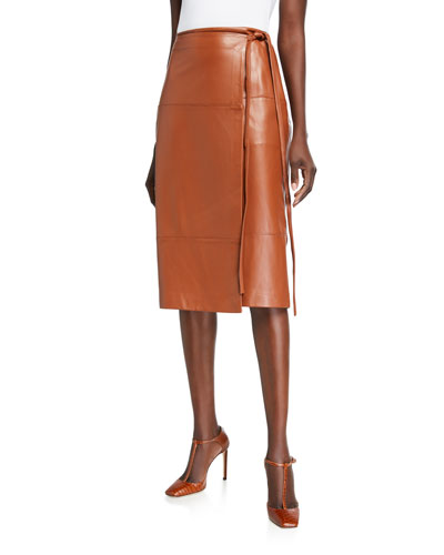 Faux-Wrap Lambskin Leather Tie-Waist Skirt