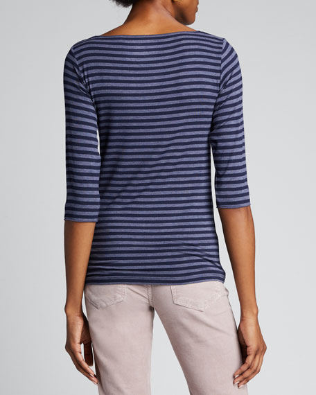 Soft Touch Striped 3/4-Sleeve Boat-Neck T-Shirt