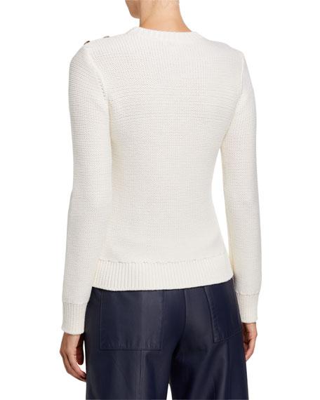 Crewneck Long-Sleeve Button-Shoulder Wool Sweater