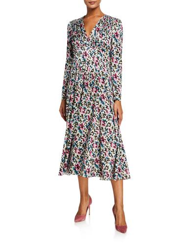 Printed Satin Jacquard V-Neck Long-Sleeve Midi Dress