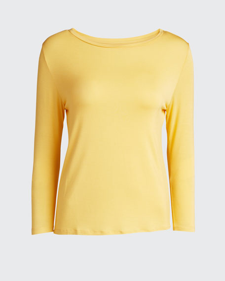Semi Relaxed 3/4-Sleeve Boat-Neck Top